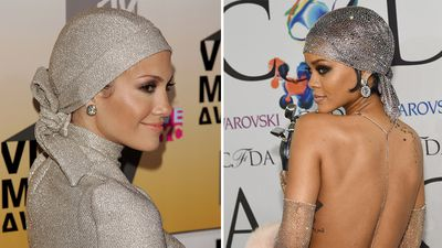 Rihanna's naked dress of 2014 wouldn't have been the same without the beaded scarf that adorned her head. The look was very reminiscent of J-Lo's headpiece at the 2006 MTV Video Music Awards.