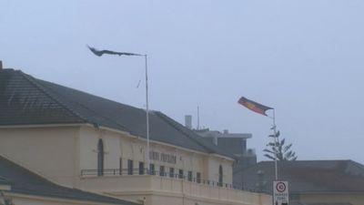 The storm battered Bondi's popular pavilion overnight. (9NEWS)