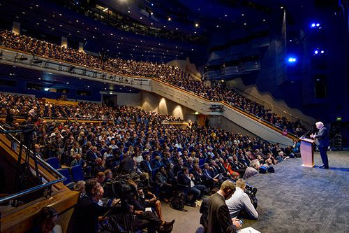 A packed audience wildly cheered at times during Boris Johnson's address at the Conservative Party conference in Birmingham.