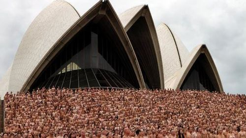Tunick has taken similar photos around the world, including this shot from outside the Sydney Opera House. Picture: Spencer Tunick