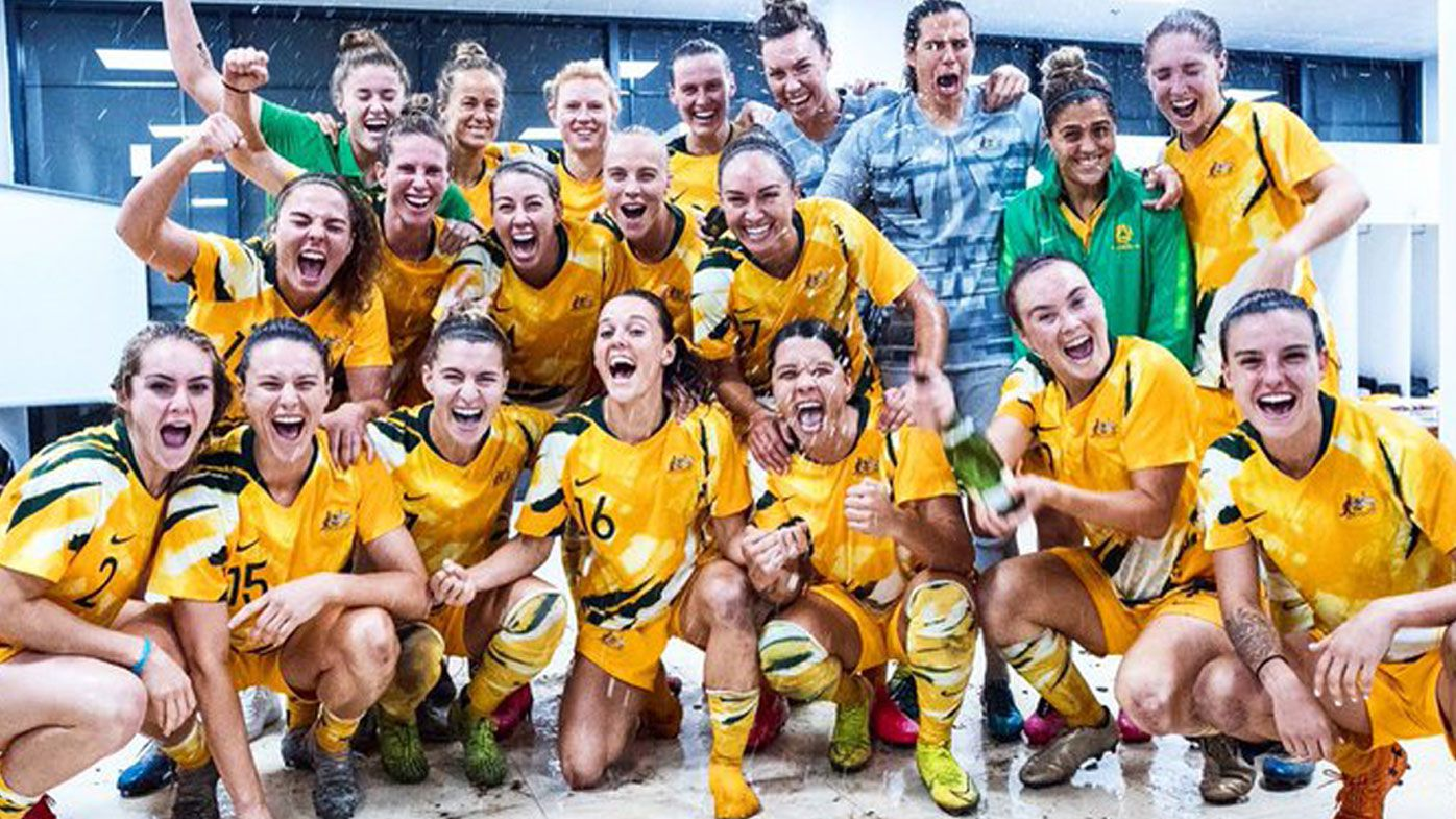 The Matildas celebrate qualifying for the Tokyo Olympics