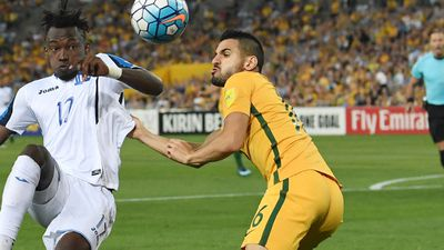 Aziz Behich: Provided the ball for Australia's best first-half chance. Was stretchered off at one point but soldiered on and has made the left wing-back position his own - 7.5