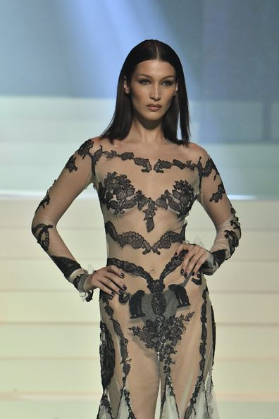 Model Bella Hadid turned heads on the runway in a racy sheer dress.