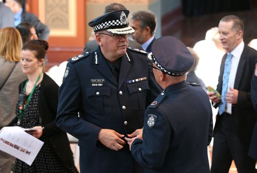 Victorian Police Commissioner Graham Ashton at a public memorial service in the Melbourne Royal Exhibition building to commemorate the first anniversary of the Bourke Street tragedy. (AAP)