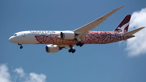 A Qantas jet touches down at RAAF Base Darwin.