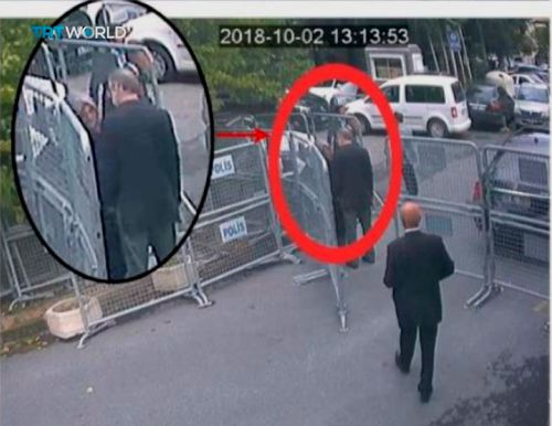 This image taken from CCTV video obtained by the Turkish broadcaster TRT World, purportedly showing Saudi journalist Jamal Khashoggi talking to his fiancee Hatice Cengiz, seen in expanded view, before entering the Saudi consulate in Istanbul, earlier this month.