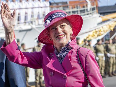 Denmark's Queen Margrethe waves on arrival during the summer voyage to Esbjerg, Denmark, Tuesday, Aug. 31, 2021. (John Randeris/Ritzau Scanpix via AP)