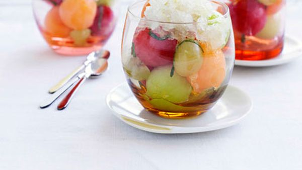 Champagne granita and melon