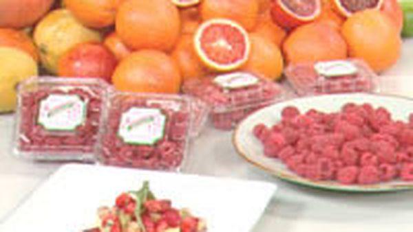 Mango and orange jelly with strawberry, kiwi and raspberry salad