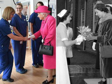 Queen Elizabeth with the NHS through the years