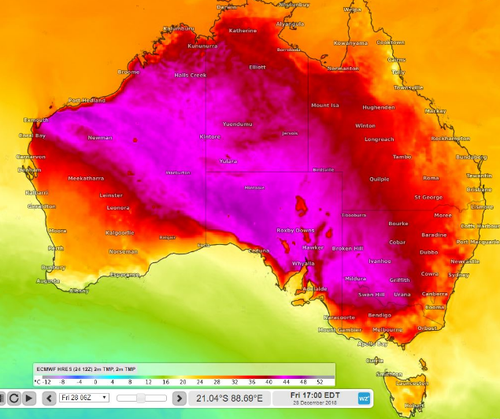 Southeast parts of Australia are set to swelter in the week leading into 2019.