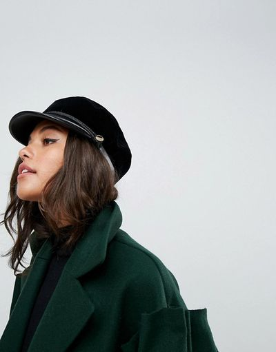 "Asos <a href=""http://www.asos.com/au/ivyrevel/ivyrevel-velvet-baker-boy-hat-with-pu-trim/prd/8759327?&channelref=product+search&affid=11148&ppcadref=869250409%7C43446601563%7Cpla-410620572439&gclid=EAIaIQobChMIz-i9_IHw2QIVmwQqCh1RWAEfEAQYCSABEgI7zPD_BwE&gclsrc=aw.ds"" target=""_blank"" draggable=""false"">Velvet Baker Boy Hat With Pu Trim</a>, $70.00."