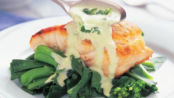 Fish with wasabi mayonnaise