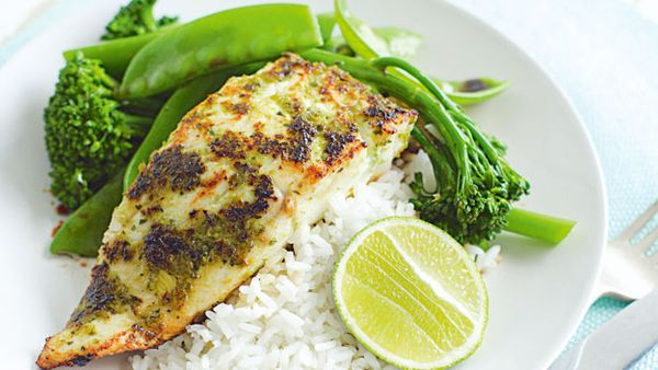 Green chilli spiced fish