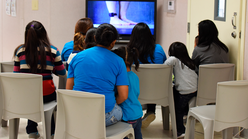 FILE - This Aug. 9, 2018, file photo, provided by U.S. Immigration and Customs Enforcement, shows a scene from a tour of South Texas Family Residential Center in Dilley, Texas.