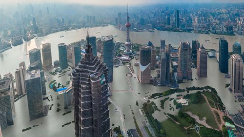 A future Shanghai with canals running through the city's streets. (Climate Central)