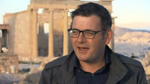 Daniel Andrews spoke following his tour of the historic Acropolis in Greece. (9NEWS)