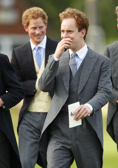 Prince Harry and Tom Inskip attend the wedding of James Meade and Lady Laura Marsham in 2013.