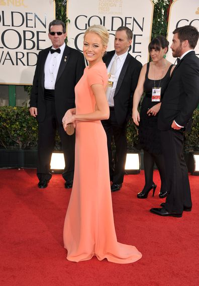Actress Emma Stone arrives at the 68th Annual Golden Globe Awards in 2011.