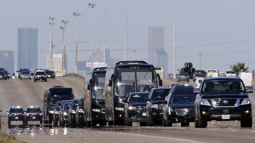 A full motorcade was provided for Mr Bush's send-off, as his body was transported to the nation's Capital, Washington D.C.