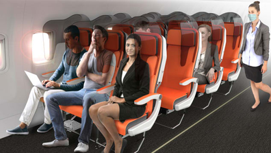 "Aviointeriors ""Glassafe"" concept is a protective shield that can be fitted on to existing seats ""to reduce the probability of contamination."""