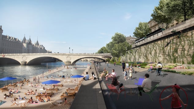 "Paris' urban renewal campaign, titled ""Reinventing Paris,"" includes making the Seine clean enough to host the 2024 Olympic triathletes. A photo rendering shows just what this would look like."