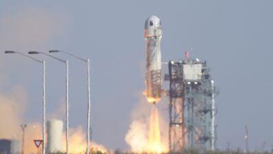 Blue Origin's New Shepard rocket launches carrying passengers William Shatner, Chris Boshuizen, Audrey Powers and Glen de Vries from its spaceport near Van Horn, Texas.
