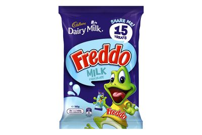 Freddo Frog — milk chocolate (12g bar): 64 calories/266kj