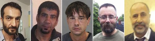 In this combo of file photos provided by the Toronto police shows five men who Toronto landscaper Bruce McArthur is accused of killing, from left: Selim Essen, 44, Sorush Mahmudi, 50, Dean Lisowick, Andrew Kinsman, 49, and Majeed Kayhan, 58. Some of the known and suspected victims of the alleged serial killer fit a pattern: people on the margins of Canadian society whose disappearance attracted little attention, until Kinsman, a LGBQT activist and former bartender with many friends, vanished. (Toronto police via AP, File)