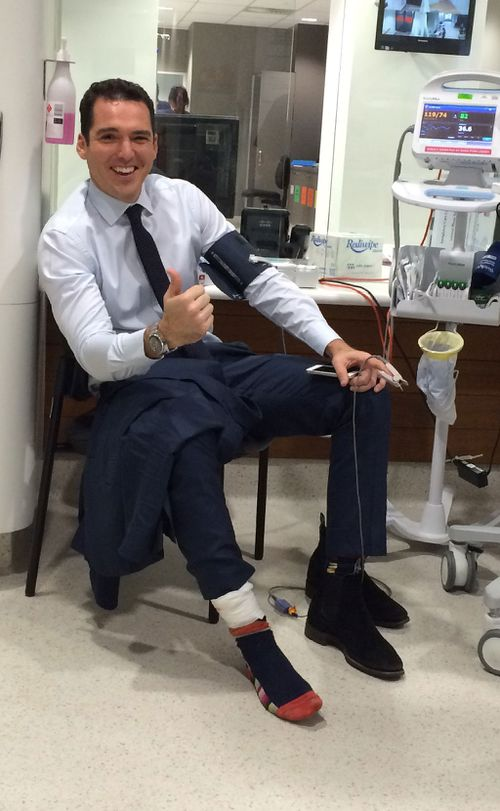 Stefanovic after being stitched up in hospital.