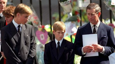 Harry and William mourn at Diana'd funeral, 1997