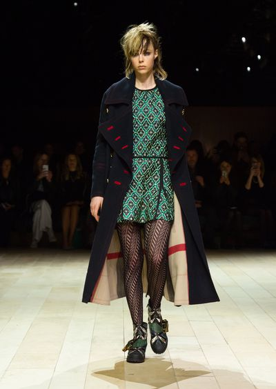 Burberry showed a collection of mixed patterns and textures that harked back to Britain's rich history of art and music.