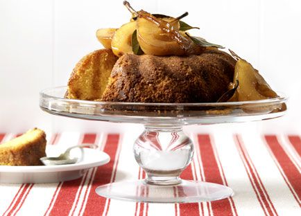 Olive oil and polenta cake with vermouth pears