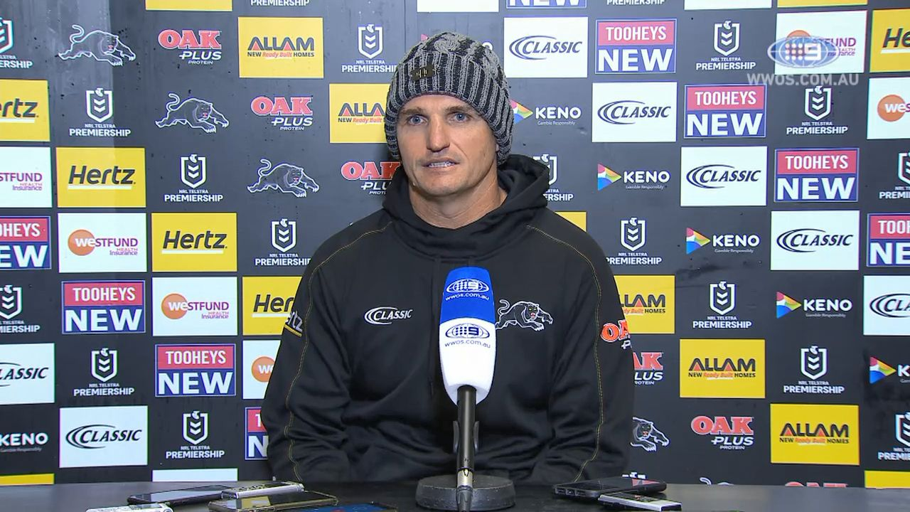 Penrith coach Ivan Cleary in exchange with referee Ashley Klein during loss to Raiders