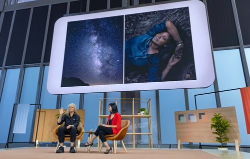 Photographer Annie Leibovitz, left, and Lily Lin, with Google, talk about Leibovitz' experience using the Google Pixel 4 in a professional setting.