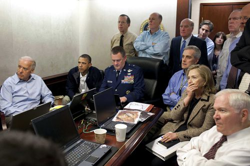 President Barack Obama, Secretary of State Hillary Clinton and Vice President Joe Biden, along with with members of the national security team, receive an update on the special forces raid on Osama bin Laden in the Situation Room of the White House. Bin Laden was killed in Pakistan on May 2, 2011 during a Navy SEAL operation, after the US intelligence services had tracked down the then most wanted man in the world.