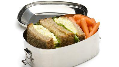 School lunch egg sandwich with salad