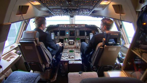 View from the top: the twins in the cockpit. (9NEWS)