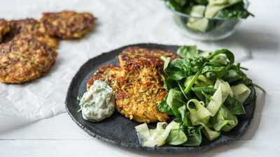 "<a href=""http://kitchen.nine.com.au/2017/03/08/11/17/cheesy-fritters-with-dill-and-parsley-mayo"" target=""_top"">Cheesy fritters with dill and parsley mayo</a>"