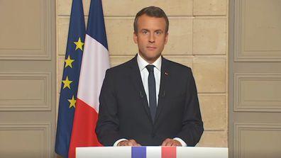 9RAW: French President Emmanuel Macron responds to Trump