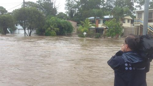 Burpengary, north of Brisbane, is plagued by flooding for a second day in a row. (9NEWS)