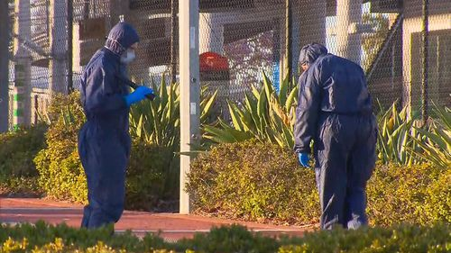 Forensic police at the scene.