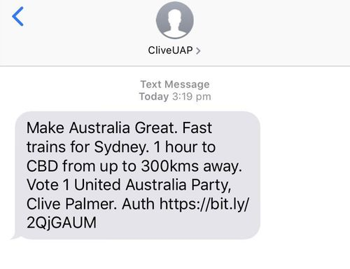 The text message sent to people in Sydney.
