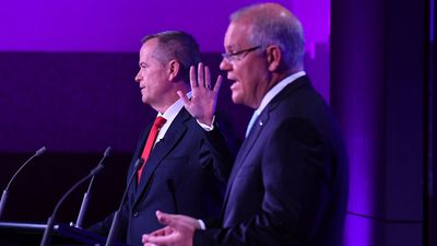Bill Shorten and Scott Morrison during the third Leaders' Debate at the National Press Club in Canberra.