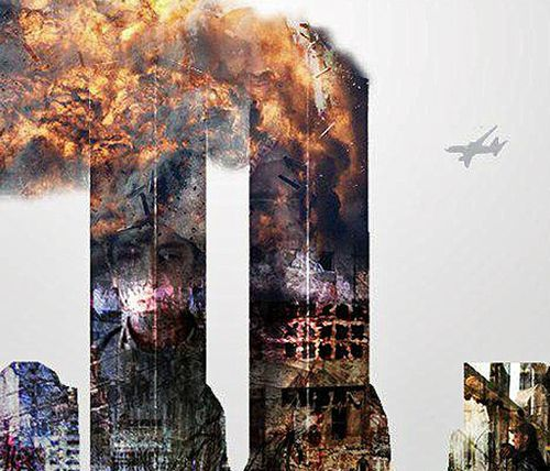 Part of the Al-Qaeda commemorative statement showing the face of Hamza bin Laden on a burning Twin Towers.