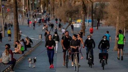People exercise outdoor on May 02, 2020 in Barcelona, Spain.