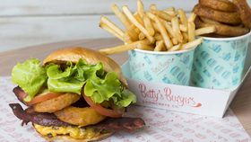 Betty's Burgers barbecue burger with onion rings