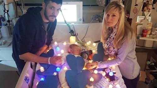 Charlie Gard with his parents, Connie and Chris. (AAP)