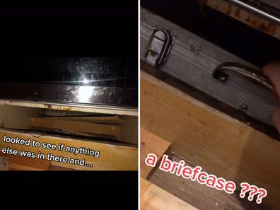 Woman's series of discoveries behind oven