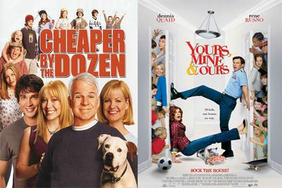 <b>In <i>Cheaper by the Dozen</i>...</b> Tom (Steve Martin) and Kate (Bonnie Hunt) are just normal American parents ... except that they've got 12 kids. When they move from a rural town to the 'burbs, all kinds of chaos ensues.<br/><br/><b>In <i>Yours Mine and Ours</i>...</b> Frank (Dennis Quaid) and Helen (Rene Russo) are normal American parents ... except that they've got 18 kids between them. When Frank and his family move back to his hometown and the two families combine, all kinds of chaos ensues.
